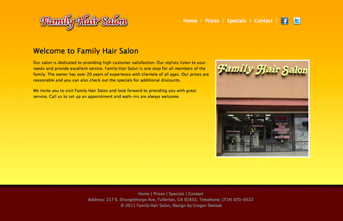 Screenshot of the Family hair Salon Website