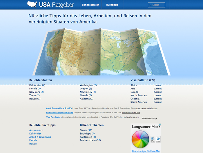 Screenshot of the USA Ratgeber Website